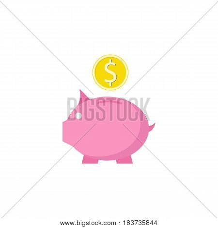 Piggy box flat icon, finance and business, money box with coin vector graphics, a colorful solid pattern on a white background, eps 10.