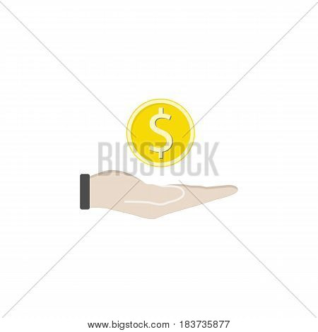 Coin in hand flat icon, finance and business, coin dollar vector graphics, a colorful solid pattern on a white background, eps 10.