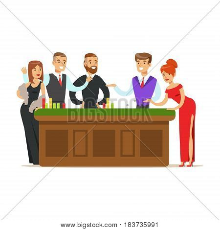 Happy people gambling at table in casino. Gambling table in luxury casino. Colorful cartoon character vector Illustration isolated on a white background