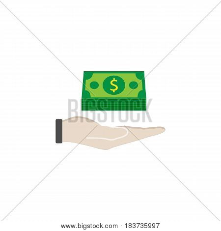 Moneys in hand flat icon, finance and business, Bundle of money sign vector graphics, a colorful solid pattern on a white background, eps 10.