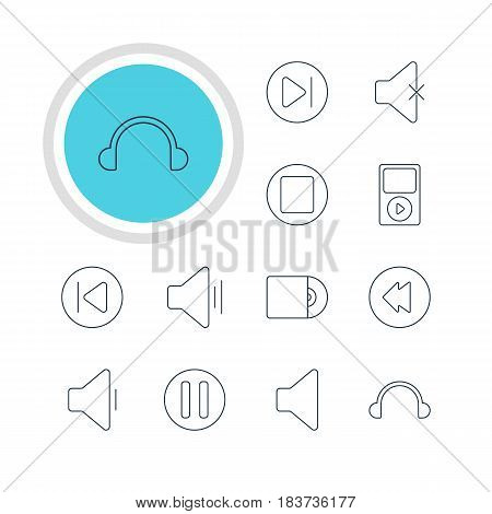 Vector Illustration Of 12 Music Icons. Editable Pack Of Earphone, Subsequent, Preceding And Other Elements.