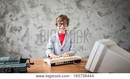 Child Pretent To Be Businessman
