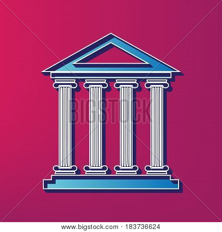 Historical building illustration. Vector. Blue 3d printed icon on magenta background.