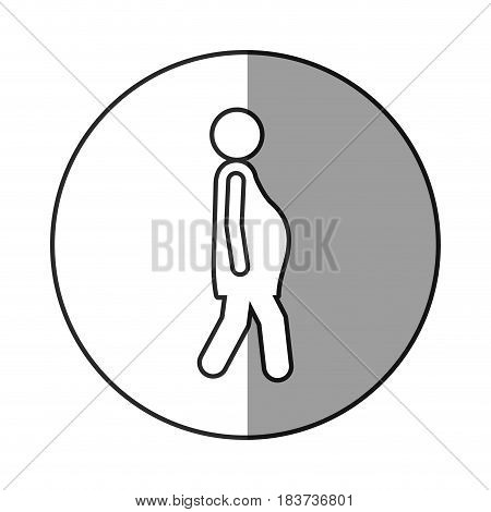 circular frame shading with silhouette pictogram woman pregnant walking vector illustration