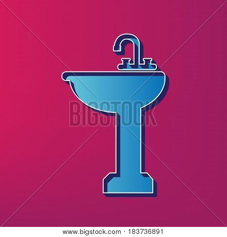 Bathroom sink sign. Vector. Blue 3d printed icon on magenta background.