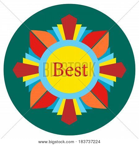 Icons awards in the flat style. Vector image on a round colored background. Element of design, interface.