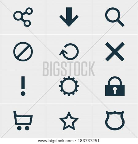 Vector Illustration Of 12 User Icons. Editable Pack Of Downward, Access Denied, Conservation And Other Elements.