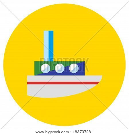 Icons steamer of toys in the flat style. Vector image on a round colored background. Element of design, interface
