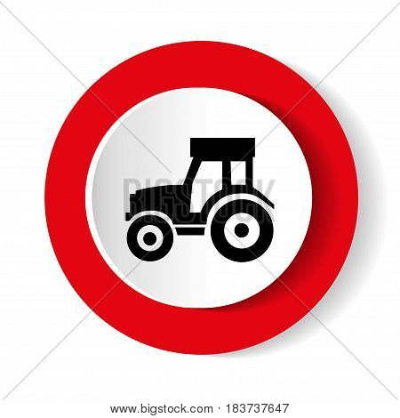 Vector illustration of a silhouette of a tractor on a white background.
