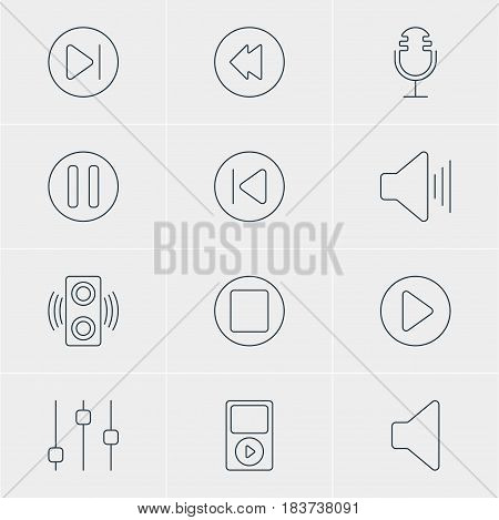 Vector Illustration Of 12 Melody Icons. Editable Pack Of Amplifier, Mike, Volume Up And Other Elements.