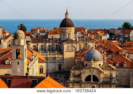 Assumption Cathedral, Church of Saint Blaise and Bell Tower in the old part in Dubrovnik, Croatia.