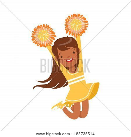 Smiling little girl dancing with yellow pompoms. Yellow cheerleader uniform. Colorful cartoon character vector Illustration isolated on a white background