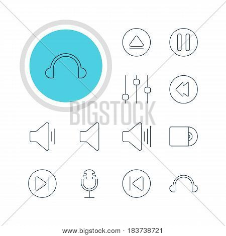 Vector Illustration Of 12 Music Icons. Editable Pack Of Reversing, Speaker, Lag And Other Elements.
