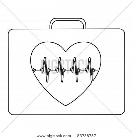 silhouette firts aid kit with symbol line of vital sign in heart vector illustration