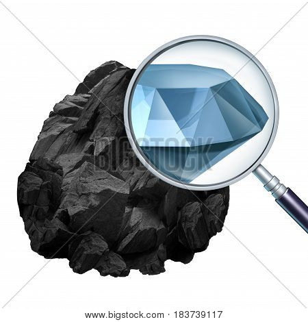 Searching for value and discovering or finding valuable opportunity as a magnifying glass looking into a rock and revealing an expensive diamond with 3D illustration elements.