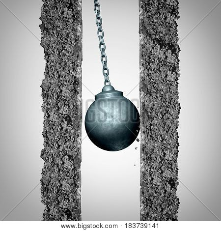 Momentum problem and limited opportunity concept as a wrecking ball limited by an inability to gather velocity due to being boxed in or obstructed by narrow confined walls with 3D illustration elements.