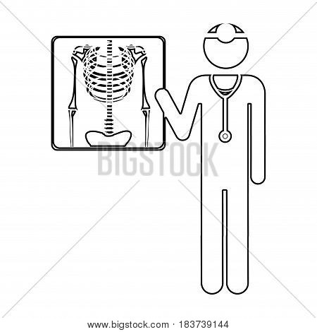 silhouette pictogram doctor and radiography vector illustration