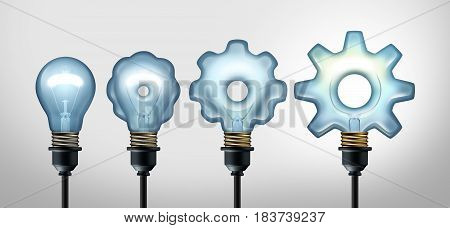 Business development idea and developing industry success through creative invention as a light bulb evolving to a gear shape as a 3D illustration.