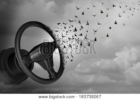 Autonomous driving and autopilot self driver concept as an auto steering wheel transforming to birds as a surreal automobile idea or flying car icon with 3D illustration elements.