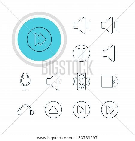 Vector Illustration Of 12 Melody Icons. Editable Pack Of Soundless, Advanced, Amplifier And Other Elements.
