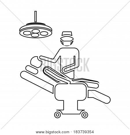 silhouette pictogram person with surgeon vector illustration