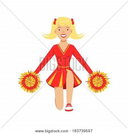 Blond cheerleader teenager girl dancing with red and yellow pompoms. Red and yellow cheerleader uniform. Colorful cartoon character vector Illustration isolated on a white background