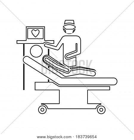 silhouette pictogram person with cardiologist vector illustration