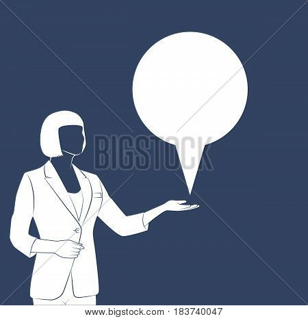 Standing modern business woman isolated on white background vector illustration. Business lady dressed in suit without face. Portrait of full length with copy space for message