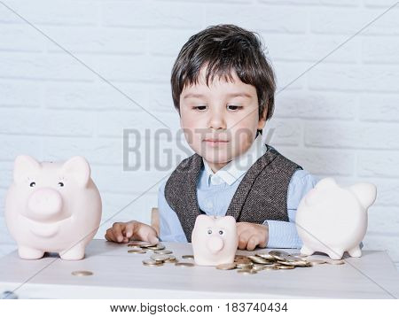 Boy With Pig Piggy Bank