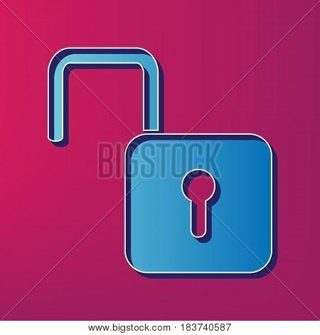 Unlock sign illustration. Vector. Blue 3d printed icon on magenta background.
