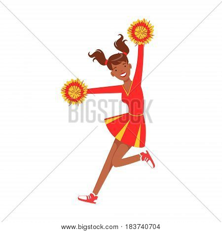 Cheerleader girl jumping with red and yellow pompoms. Red and yellow cheerleader uniform. Colorful cartoon character vector Illustration isolated on a white background