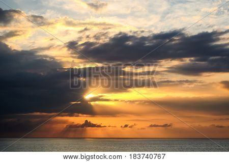 Sunset Over Sea At Montego Bay, Jamaica.
