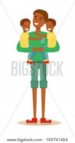 young handsome African American father holding sons in his arms and smiling. Cartoon character illustration of people. Isolated on white background. Stock vector for poster, greeting card, website, ad
