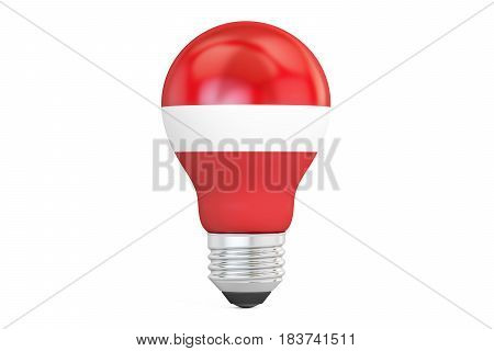 Light bulb with Latvia flag 3D rendering isolated on white background