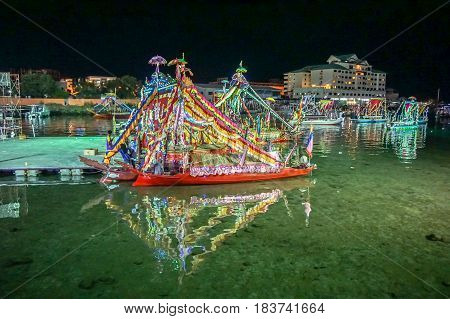 Semporna,Sabah-Apr 22,2017:Night view of traditional Sea Bajau's boat known as Lepa-Lepa decorated with colorfull Sambulayang during Regata Lepa-Lepa in Semporna,Sabah,Borneo.Lepa means Boat in Sea Bajau.