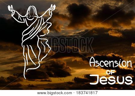 Stylized illustration of the silhouette of the ascension of  Jesus Christ. Handwritten text. Words about God. Sky and clouds.