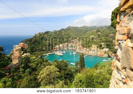 Beautiful sea from Castle with colorful houses in Portofino Italy