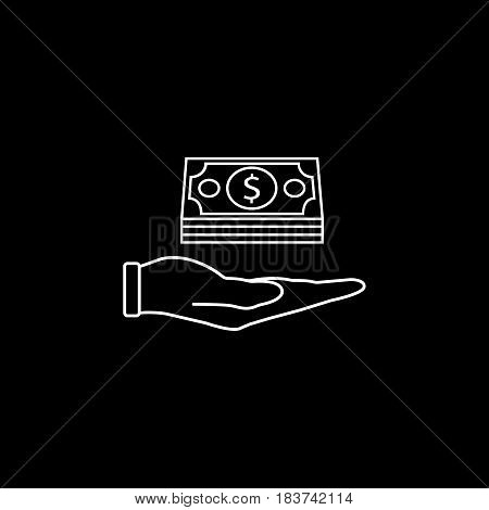 Moneys in hand line icon, finance and business, Bundle of money sign vector graphics, a linear pattern on a black background, eps 10.
