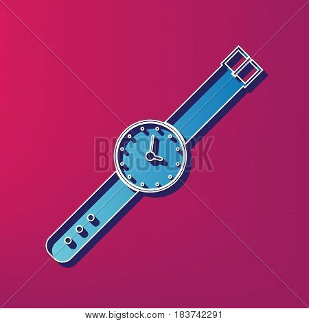 Watch sign illustration. Vector. Blue 3d printed icon on magenta background.