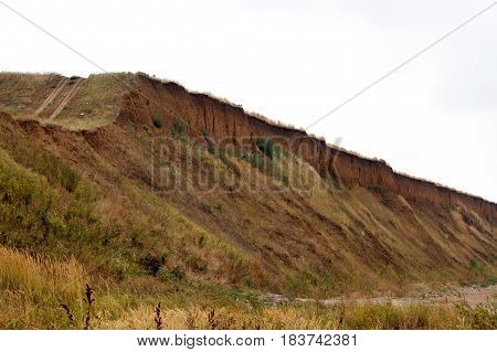 Steep descent with grass near the sea shore