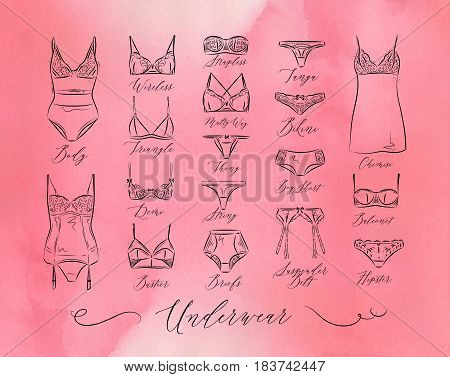 Set of classic underwear icons in vintage style drawing with lines on pink background