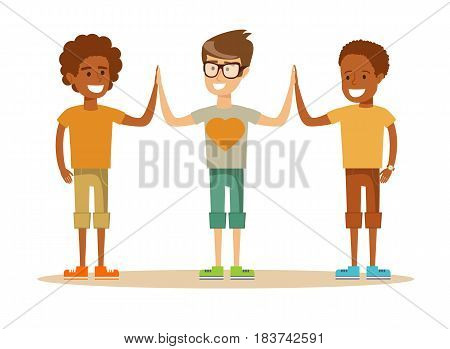 Three mixed-race Young boy giving each other a high five. Cartoon character illustration Isolated on white background. Stock vector for poster, greeting card, website, ad.