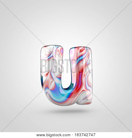 Glossy Water Marble Alphabet Letter U Lowercase Isolated On White Background