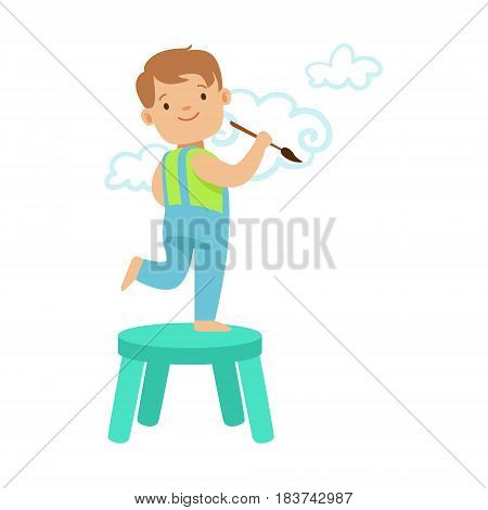 Happy smiling little boy standing on a chair and painting clouds on a white wall. A small artist, education and child development. Colorful character vector Illustration isolated on a white background