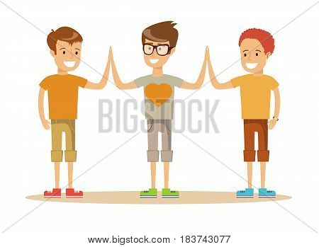 Pupils giving each other a high five on the school grounds