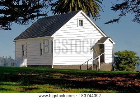 Wooden Fencible Cottage, Onehunga, Auckland , New Zealand. The Royal New Zealand Fencible corps were retired soldiers from Britain and Ireland, often referred to as 'Pensioners', who enlisted as a military reserve to act as a 'defence force' for the prote