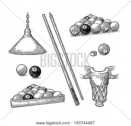 Set billiard. Cue sticks, balls, chalk block, pocket and lamp.Vintage black engraving illustration for poster, web. Isolated on white background.