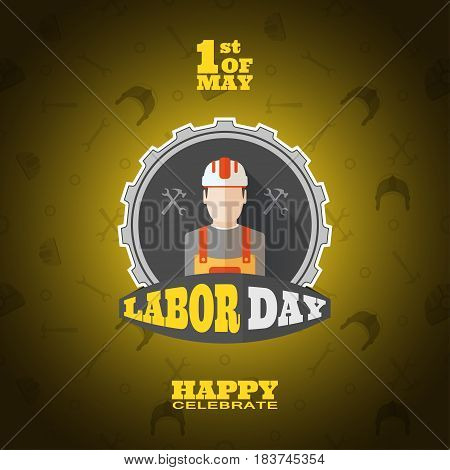 Vector poster of Happy Labor Day with gray label of gear cut from paper yellow text on the gradient gray background with pattern.