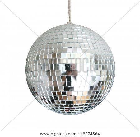 discoball hanging on chainlet isolated