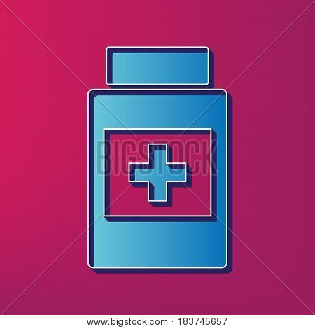 Medical container sign. Vector. Blue 3d printed icon on magenta background.